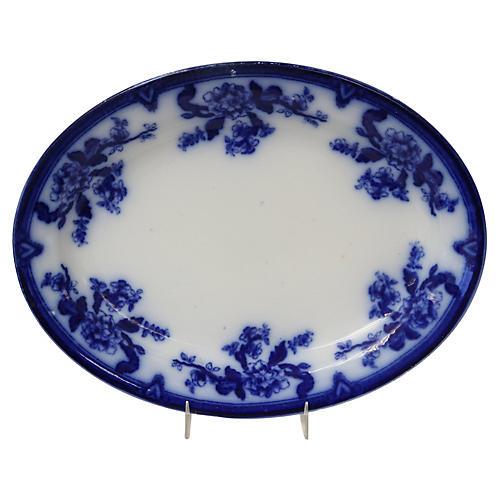 Antique Flow Blue Indian Tree Platter