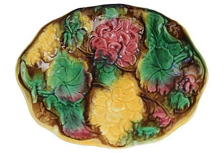 Antique   Majolica Geranium Serving Dish
