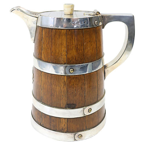 Antique English Oak Water Pitcher