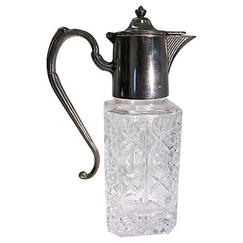Heavy Silverplate & Crystal Decanter