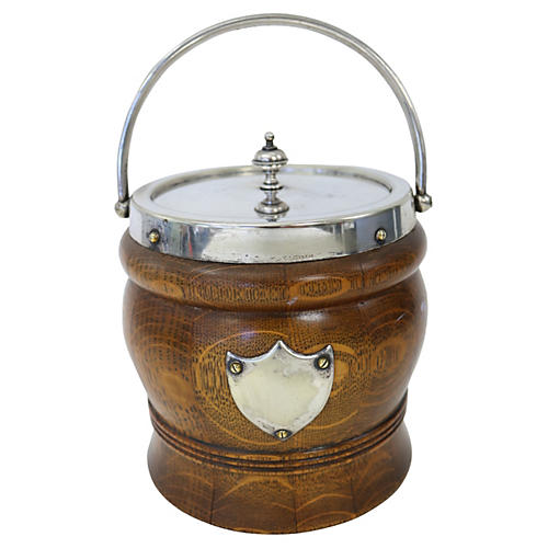 English Oak & Silver Plate Ice Bucket