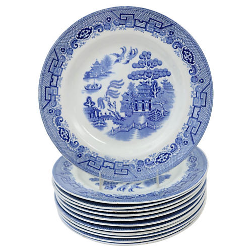 English Willow Dinner Plates, S/12
