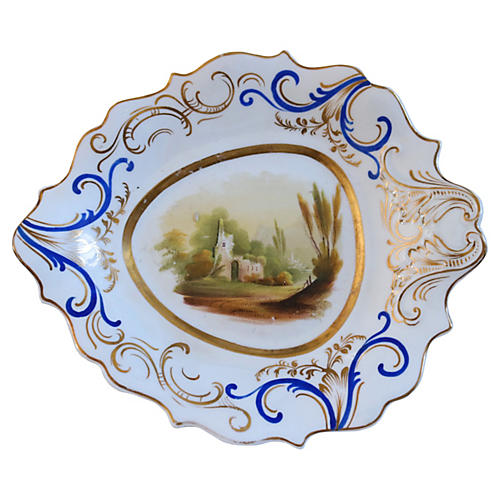 1840s Hand-Painted Porcelain Dish