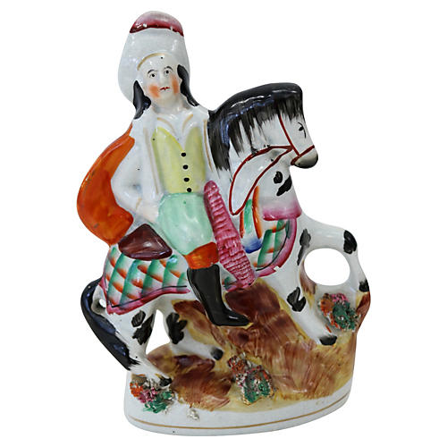 Antique Staffordshire Man on Horse