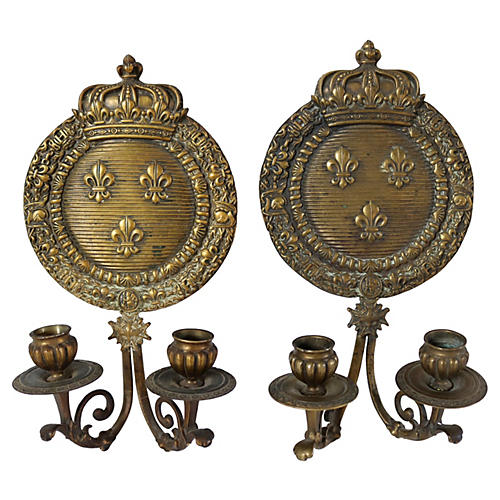 1920s French Bronze Crown Sconces, Pair