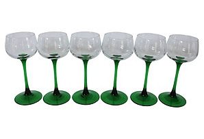French Green Stem Wineglasses, S/6