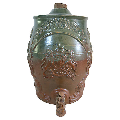 Antique English Stoneware Spirit Barrel