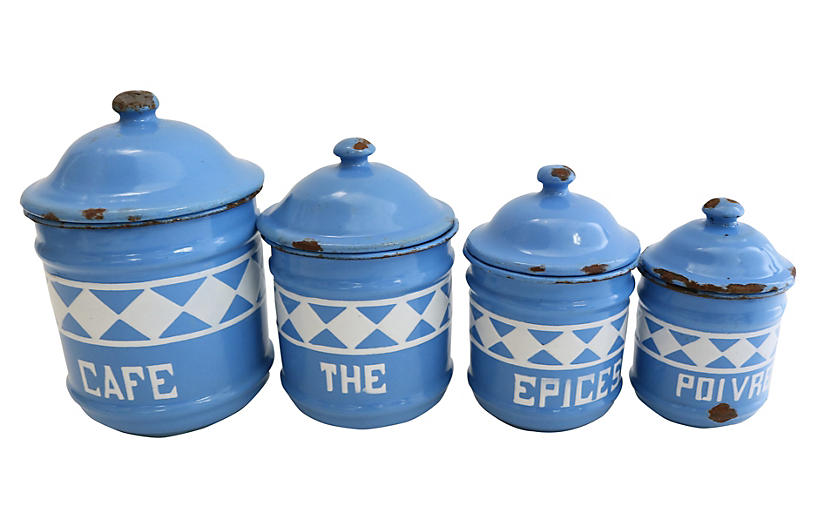 French Enamel Kitchen Canisters, S/4