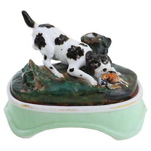 Antique Porcelain Hunting Dog Inkwell