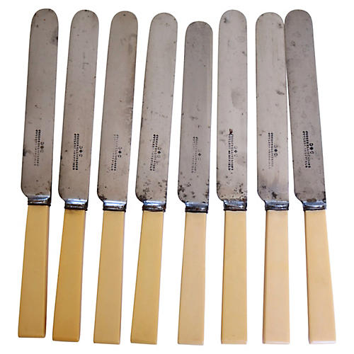 Antique Sheffield Dinner Knives, S/8