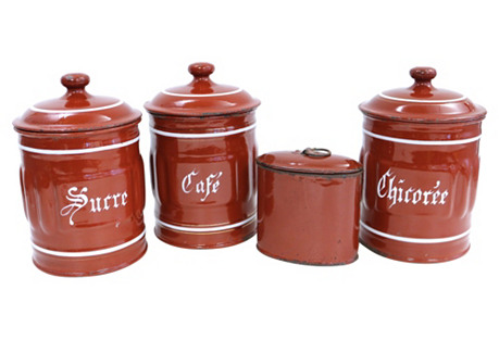 French Enameled Canisters, S/4