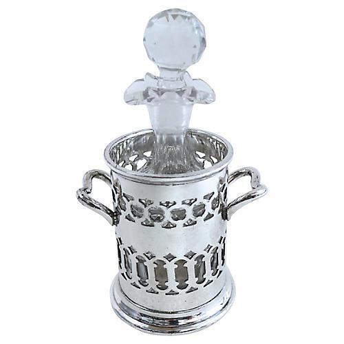 Silver-Plate Bottle Holder & Cruet