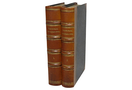 Leather-Bound Books on Africa, Pair