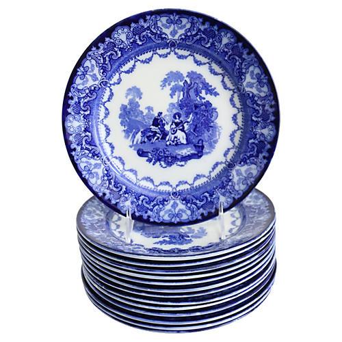 Doulton Flow Blue Watteau Plates, S/14