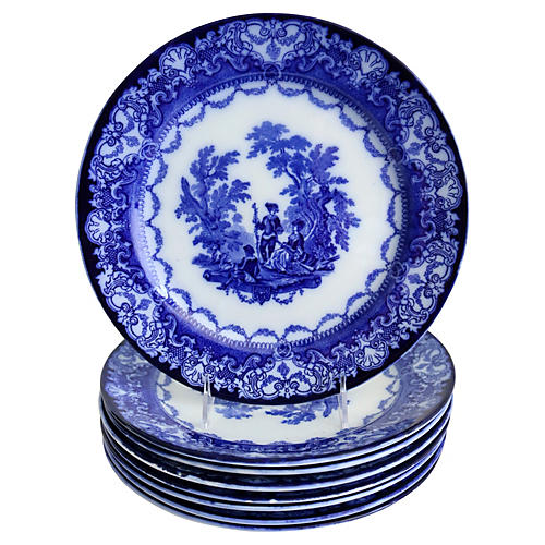 Flow Blue Doulton Dinner Plates, S/8