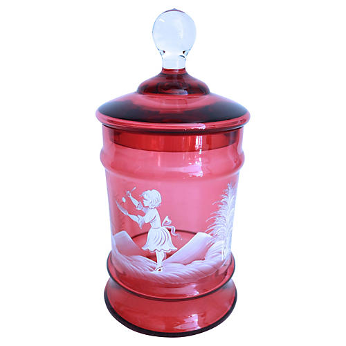 Hand-Enameled Cranberry Glass Jar