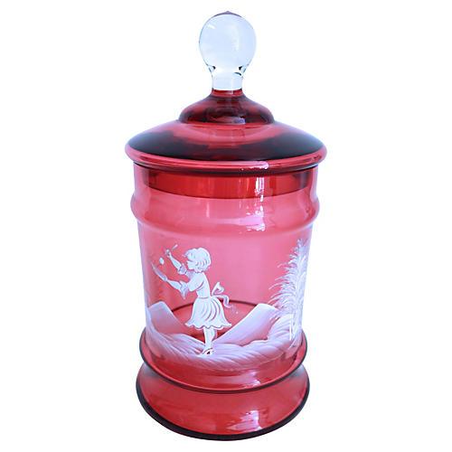 Hand-Enameled Cranberry Glass Jar