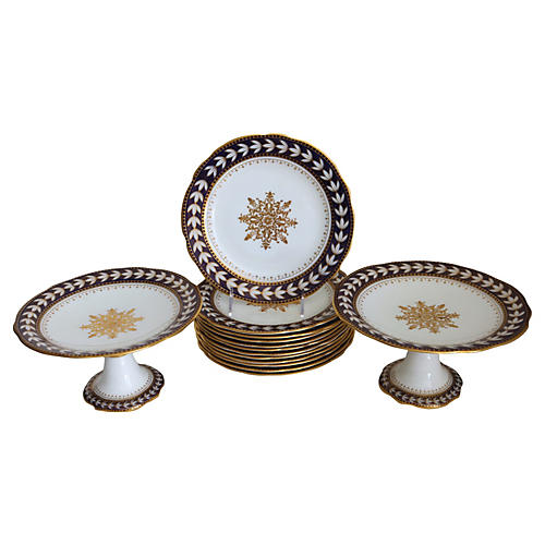 Porcelain Snowflake Serving Set, 14-Pcs