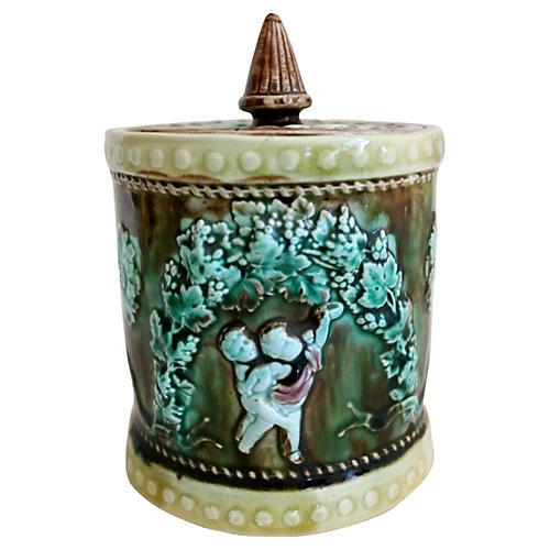 Antique English Majolica Tobacco Jar