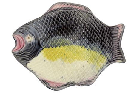 Antique Majolica Fish Serving Dish