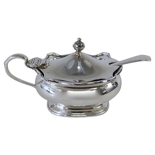 Silver-Plate & Cobalt Mustard Pot, 2-Pcs