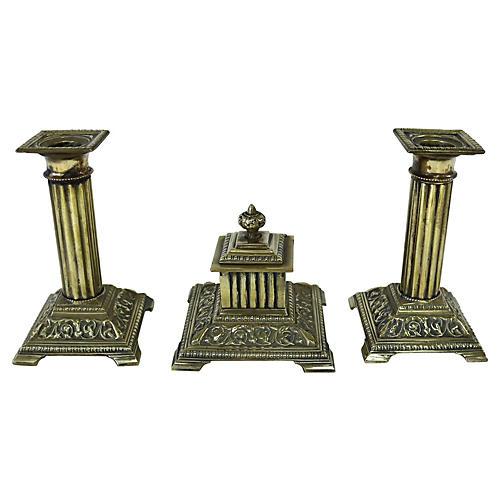 English Brass Corinthian Desk Set, 3 Pcs