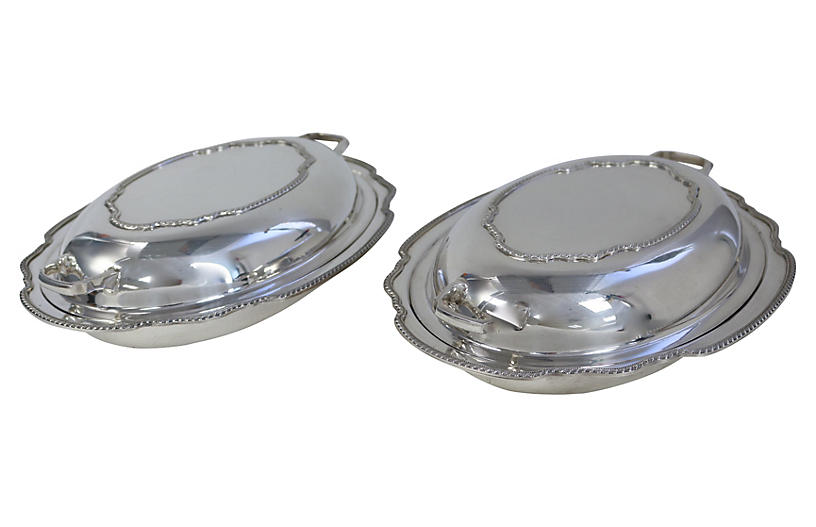 English Silver-Plate Serving Dishes Pair