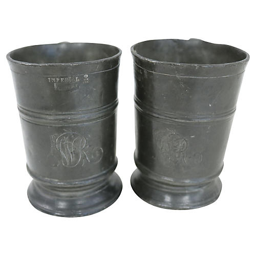 Antique Monogrammed Pewter Ale Mugs, S/2