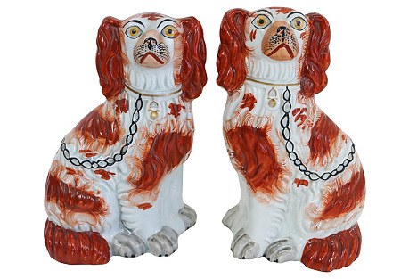 Antique   Staffordshire Red Dogs, Pair
