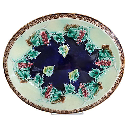 English Majolica Grapevine Dish