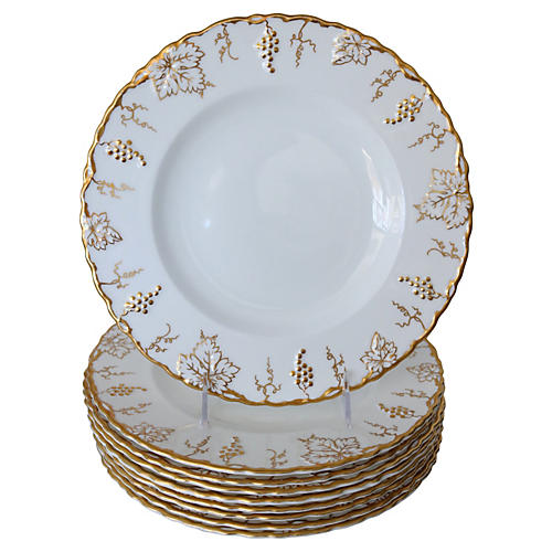 Crown Derby Gilded Dinner Plates, S/9
