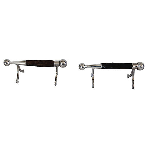 English Horn Carving Knife Rests, Pair