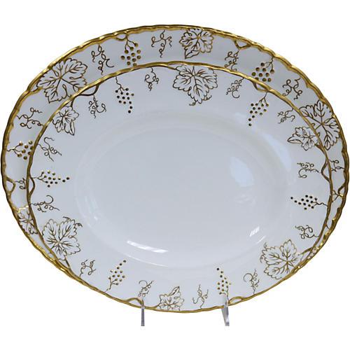 Crown Derby Gilded Vine Platters, S/2