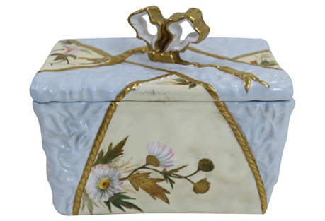 Antique Hand-Painted Porcelain Box