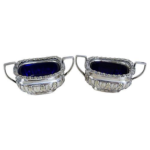 Silver-Plate & Cobalt Open Salts, S/2