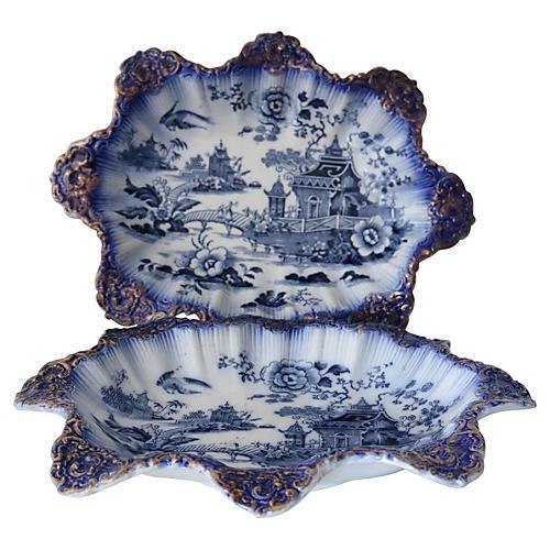 Antique Flow Blue Willow Bowls, Pair