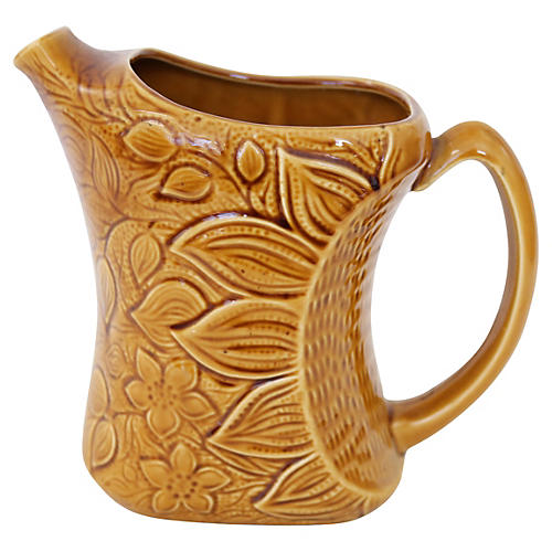 French Majolica Sunflower Jug