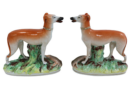 Antique Staffordshire Hunting Dogs, Pair