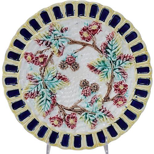 Antique English Majolica Wall Plate