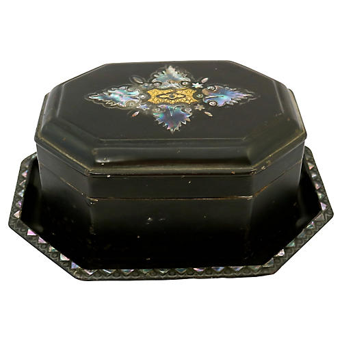 Antique Pearl Inlay Tole Tea Box & Tray