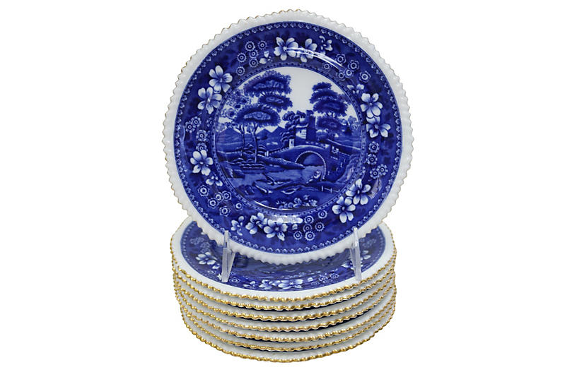 Gilt Porcelain Spode Tower Plates, S/7