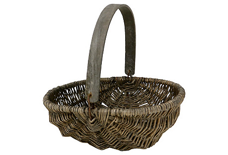 Antique French Wicker  Gathering Basket