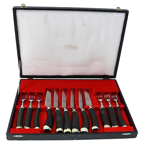 Sheffield Antler Horn Steak Set, 12 Pcs