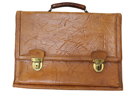 1960s English Leather Brief Case