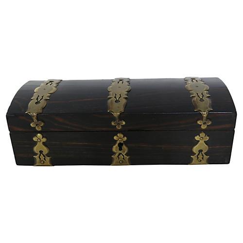 Antique Exotic Wood & Brass Box