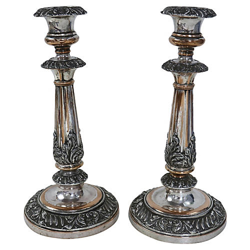 19th-C. Silver-Plate Candleholders, S/2