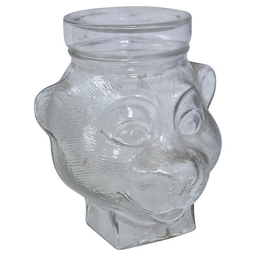 1920s French Glass Bear Cookie Jar
