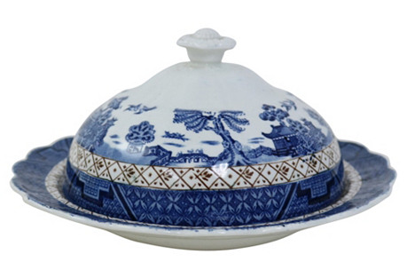 English Willow Covered Butter Dish