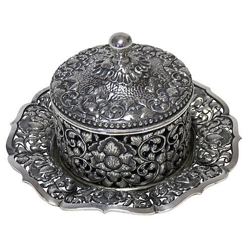 Coin Silver Floral Condiment Pot, D.1937