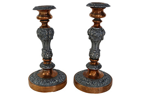 Antique English Candleholders,  Pair